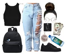 """""""We gon save dat money"""" by tomgurl ❤ liked on Polyvore featuring Topshop, adidas, Nila Anthony and River Island"""