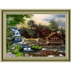 Diamond embroidery Waterfall full needlework cross stitch set square resin diamond painting art wall picture vacation cottage