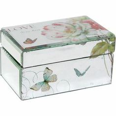 """Bring warmly weathered romance to your dresser, credenza, or vanity table with this charming trinket box, showcasing a beautifully mirrored surface and lush botanical motif.      Product: Trinket box    Construction Material: Mirrored glass and wood   Color: Multi       Dimensions: 3.5"""" H x 6.25"""" W x 3.75"""" D"""