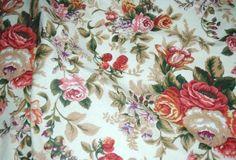 Tkanina Kwiaty Róże gruby splot angielski wzór bawełna