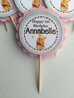 Pink Baby Winnie the Pooh and Friends Cupcake Toppers by DragonFlyPapier