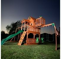 Outdoor Cedar Wood Play Set Big Playset Backyard Swing Wooden Deck Kids Swingset