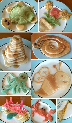 Crazy pancake art! (My kids used to get excited when I gave them the little batter drops as baby pancakes... This sets the bar a little higher, eh? LOL!)