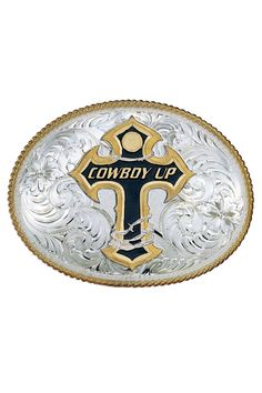 Montana Silversmiths Cowboy Up Barbed Wire Cross Western Belt Buckle |Montana Silversmith
