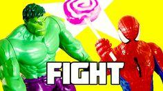 Spiderman vs The Incredible Hulk - Spiderman met een lolly - Superhelden...