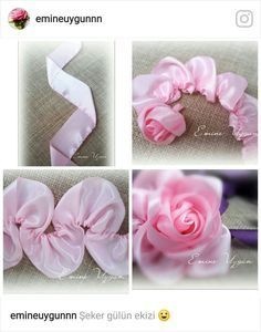 Wonderful Ribbon Embroidery Flowers by Hand Ideas. Enchanting Ribbon Embroidery Flowers by Hand Ideas. Satin Ribbon Flowers, Cloth Flowers, Ribbon Art, Ribbon Crafts, Fabric Ribbon, Flower Crafts, Fabric Flowers, Tulle Flowers, Scrap Fabric