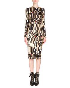 B2YEC Givenchy Long-Sleeve Optical Illusion-Print Sheath Dress