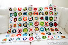 Colorful Squares Crochet Quilt - One Dog Woof