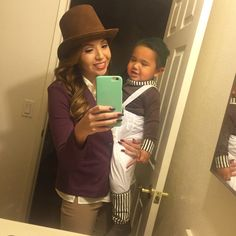 Mother and son costumes Willy Wonka Oompa Loompa