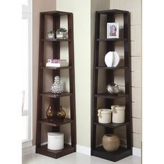 Paint it white for powder room - Poundex 5 tier corner shelf in walnut or black finish wood at Sears.com