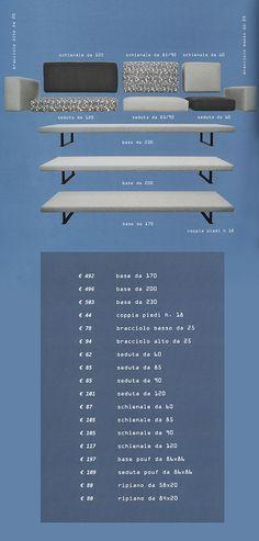 Il divano Under di Doimo Salotti è composto da questi singoli elementi, ciascuno rapppresentato nella foto con i relativi costi e misure. www.doimosalotti.it