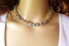 SWAROVSKI FLOWER NECKLACE,bridal,flower choker, crystal, flower embellished, swarovski flowers,multi colored, stunning,dksjewelrydesigns