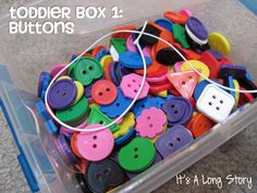 Boxes {via It's A Long Story} Toddler Approved!: Toddler Boxes {via It's A Long Story}. What would your toddler want in his box?: Toddler Boxes {via It's A Long Story}. What would your toddler want in his box? Toddler Learning, Toddler Fun, Toddler Preschool, Preschool Activities, Kids Learning, Toddler Busy Bags, Toddler Stuff, Activity Box, Busy Boxes