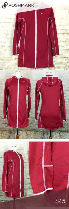 "Nike Dri-Fit Red Hoodie Zipper Long Sleeve Dress Pre-owned and in EUC Nike Dri-Fit Red Hoodie Zipper Front Long Sleeve Dress.  Size:  M (8-10)  Armpit-to-Armpit: 20"" Bust: 40"" Full Waist: 36"" Full Hip: 39 ½"" Side seam (armpit to bottom): 23 ¾"" Top shoulder/neck corner to bottom hem: 32""""  Details: Nike Dri-fit Hoodie Zipper Front Dress Color: Red White overlock stitching Textured fabric Double zipper Raglan Sleeves Side pockets Inside hook  (near neckline) 100% Polyester Made in Taiwan  #…"