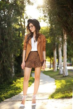 leopard printed skirt and camel jacket