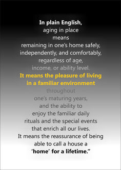Aging in place OR in my mind, MAKING EVERY SINGLE HOME ACCESSIBLE FROM THE START!!!!!! No one should ever have to face RENOVATING their home simply because they, or someone they love, have encountered a life changing event ~ be it through birth, health related issue or accident. HOW incredible would it be for one to simply RETURN HOME after that type of trauma rather than face the stress & related expense of redesigning their HOME AND LIFE??