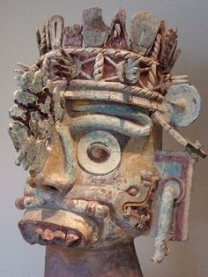 Head of the rain god Tlaloc ceramic tufa stucco and paint Mixtec culture Mexico by mharrsch, via Flickr