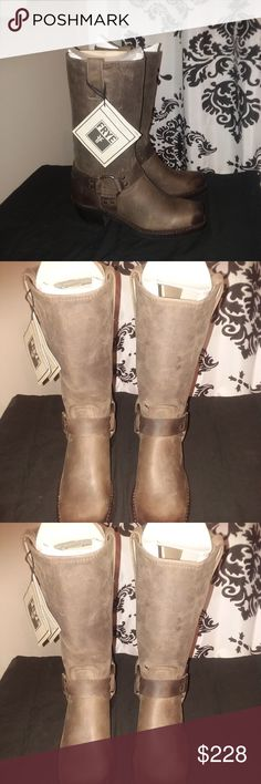 """Frye Harness 12R, in Smoke, 7.5 Frye Harness 12R, in Smoke, 7.5. Condition is NWT with slight defect on the left boot which can be seen in Picture #4. Made in the USA. Goodyear welt construction. Easy to resole if needed over time. Rubber Outsole.   - 11 1/2"""" shaft height - 1 3/4"""" heel height  Do not fit true to size. Half size too big. Recommend for individual wearing size 8.  Open to Reasonable Offers :-) Frye Shoes Heeled Boots"""