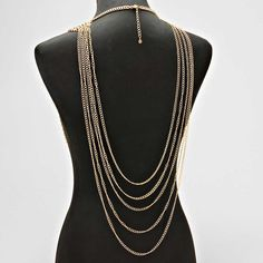 Back $27 (Back view Crystal Cinch Multi Draped Metal Disk Body Chain)