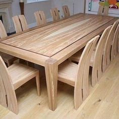 Wooden Dining Table Designs, Dinning Table Design, Contemporary Dining Table, Wooden Dining Tables, Wood Table, 12 Seater Dining Table, Dinning Room Tables, Table And Chairs, Dining Chairs