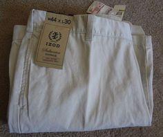Izod Men's 44-30 Saltwater Chinos NWT 100%Cotton Weathered Twill Made/Bangladesh #IZOD #KhakisChinos