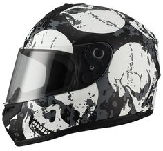 """Skull"" Full Face Matte White Street Bike Motorcycle Helmet by Triangle [DOT] (Medium). Full Face Helmet. DOT Approved. Advanced ABS shell with high pressure thermoplastic technology. Multi Density EPS liner. Ventilation system with top and rear extractors liner. Fully removable, washable and anti-bacterial interior liner."