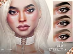 The Sims Resource - Felice Eyebrows N107 by Praline Sims for The Sims 4 Sims 4 Cc Eyes, Sims 4 Cc Skin, Sims Cc, How To Color Eyebrows, Perfect Eyebrows, Thick Eyebrows, Kylie, The Sims 4 Cabelos, Sims 4 Cc Makeup