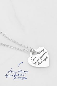 Heart Tag Handwriting Necklace • bridesmaid gifts • gifts for bridesmaids • bridesmaid gift ideas • Actual handwriting necklace • Engraved handwriting necklace • Personalized handwritten necklace • Custom handwritten necklace • Actual handwritten necklace • Custom handwriting necklace  • Personalized handwriting necklace • gifts for bridesmaids • best bridesmaid gifts • Handwritten jewelry • Memorial necklace for mom  • Keepsake jewelry • In memory of Dad