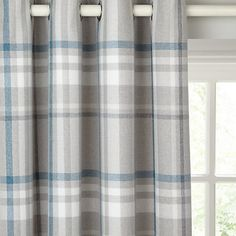 Buy Blue John Lewis & Partners Darcey Check Pair Lined Eyelet Curtains from our Ready Made Curtains & Voiles range at John Lewis & Partners. Types Of Curtains, Blue Curtains, Panel Curtains, Curtain Drops, Check Curtains, Curtain Headings, Curtain Length, John Lewis Shops, Curtain Poles