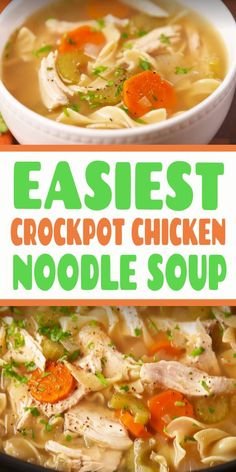 Easy CrockPot Chicken Noodle Soup The easiest way to make the most comforting meal. Easy Crockpot Chicken, Easy Chicken Recipes, Easy Dinner Recipes, Crockpot Recipes, Soup Recipes, Easy Meals, Boneless Chicken Breast, Chicken Breasts, Slow Cooker