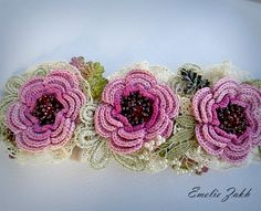 Headband jewelry hair crochetpink flowers hair by EZDessin