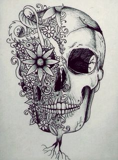 Skull art drawings group with items Kunst Tattoos, Tattoo Drawings, Pencil Drawings, Art Drawings, Pencil Tattoo, Flower Drawings, Pretty Drawings, Catrina Tattoo, Totenkopf Tattoos
