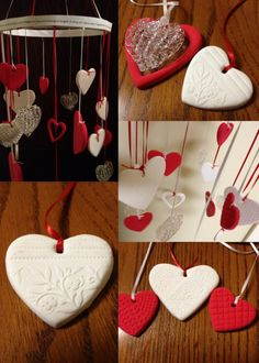 Heart mobile... used Crayola air dry clay and various items to add texture.