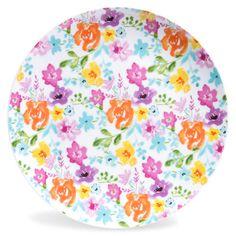 Piatto piano in porcellana con motivi a fiori D 27 cm GARDEN PARTY