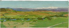 THAKE, Eric Australia 1904 – Australia 1982 Kosciusko and the Murray Flats at Towong. 1932 Painting oil on canvas Landscape Paintings, Landscapes, Oil On Canvas, Golf Courses, Ocean, Australia, Flats, Texture, Artwork