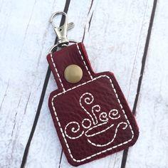 Coffee keyring - coffee lovers keyfob - clip on keychains - leather keyrings…