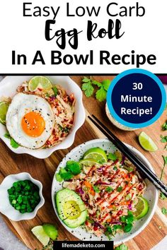 Egg Roll In A Bowl is packed with nutrients and flavor! All the things you love about egg rolls minus the loads of carbs. Instead, you'll get ground turkey, cabbage, carrots, garlic, and seasonings in a tangy sauce. Perfect for an easy lunch or dinner and even though it's keto-friendly, the entire family will love it. Keto Egg Recipe, Recipe 30, Egg Recipes, Gluten Free Recipes, Healthy Low Carb Dinners, Low Carb Dinner Recipes, Keto Dinner, Carbs In Eggs, Healthy Egg Rolls