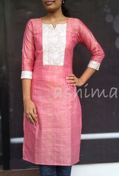 Cotton With Embroidered Yoke Price All sizes… Salwar Neck Designs, Churidar Designs, Kurta Neck Design, Kurta Designs Women, Dress Neck Designs, Blouse Designs, Salwar Pattern, Kurti Patterns, Simple Kurta Designs
