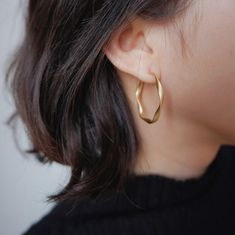 Holiday Gift Twisted Matte Gold Hoop Earrings Small Simple | Etsy Small Gold Hoops, Small Gold Hoop Earrings, Golden Earrings, Simple Earrings, Drop Earrings, Antique Earrings, Minimalist Earrings, Matte Gold, Collections