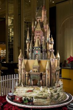 The 1,200 pound edible sugar castle.  This is not your mother's gingerbread house. The castle, created in the French chateau style, weighs in at more that 1,200 pounds and requires some 60 pounds of flour with icing made of 300 pounds of sugar and egg whites. It took 400 hours of work.