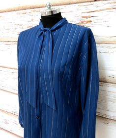 Vintage navy blue tie pussy bow blouse/long by girlsaboutcity