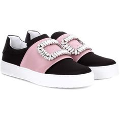 Roger Vivier Sneaky Viv Embellished Satin Slip-on Sneakers ($1,635) ❤ liked on Polyvore featuring shoes, sneakers, black, roger vivier sneakers, roger vivier shoes, embellished shoes, slip-on shoes and satin shoes