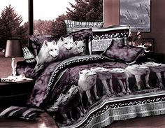 3 Piece Set Mountain Wolves Soft 3d Comforter Set 08 King >>> You can find out more details at the link of the image.