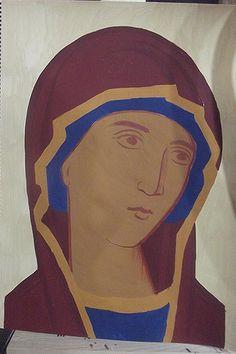 Σπουδή στον κόπο των μαθητών Face Lightening, Paint Icon, Russian Icons, Goldfinch, Virgin Mary, Ikon, Three Dimensional, Red Green, Art Pieces