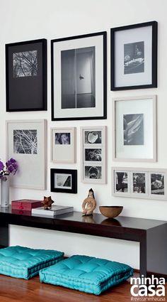 Esta linda coleção de fotografias foi alinhada de baixo para cima, da esquerda para a direita, com espaços de 5 cm entre as obras