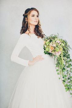 Full of Grace – Elizabeth Stuart Spring 2015 Collection - Rosemary - Long Sleeved Wedding dress with tulle skirt