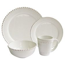 16-Piece Bianca Round Dinnerware Set in White