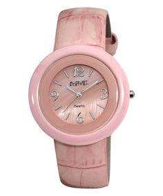Pink Ceramic Leather-Strap Watch by August Steiner #zulilyfinds