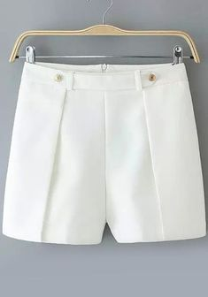 2017 Women's pleated Office Lady shorts cascading button decoration all-match OL fashion shorts solid color Bermudas Shorts, Casual Shorts, Modest Shorts, Comfy Shorts, Flowy Shorts, Ripped Shorts, Jean Shorts, Ol Fashion, Fashion Pants