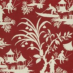It's red, it's Chinoiserie, it's a garden with water . . . I can see myself in that boat floating in that garden.